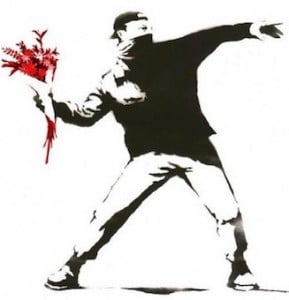 Banksy Red Flowers