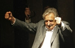 Uruguay's president Jose Mujica celebrates winning the presidential election in Montevideo in 2009     Photo © Frente a Aratiri