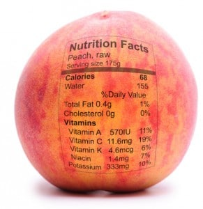 Peach with nutriton facts