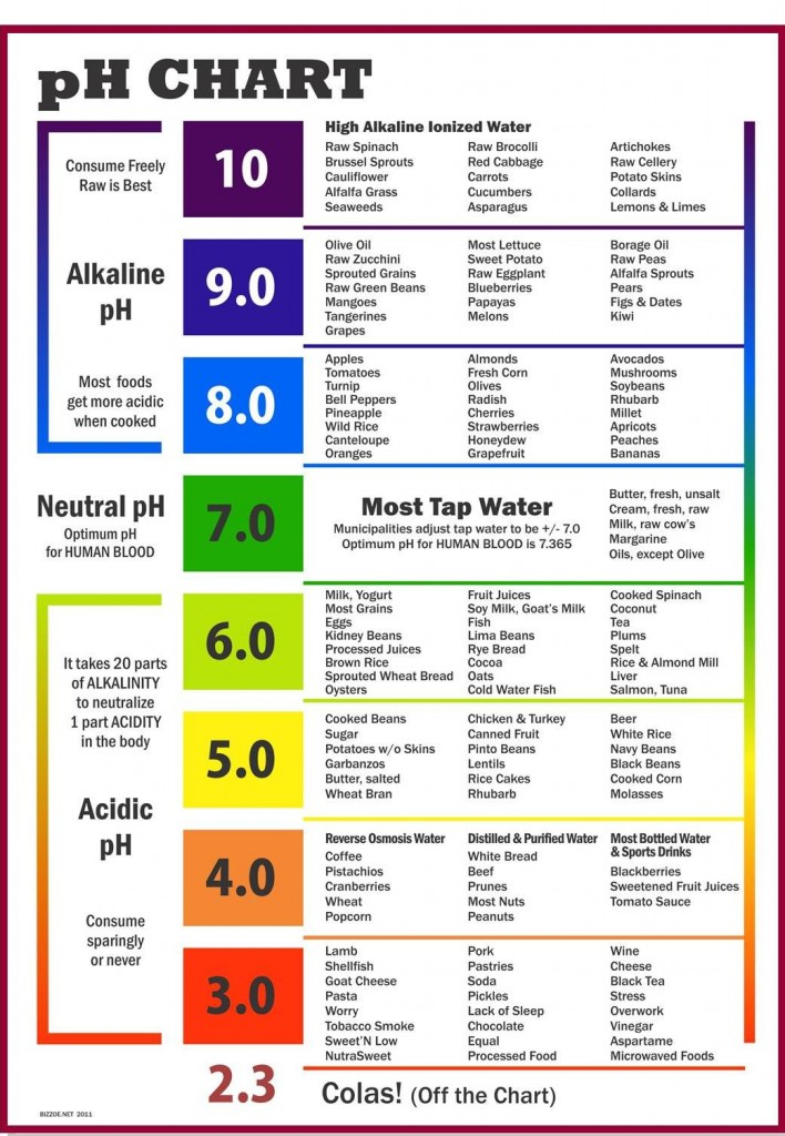 pH Scale Food Chart