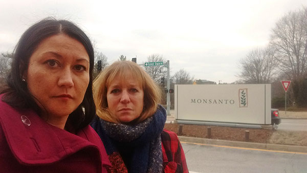 Anne Temple and Zen Honeycutt at Monsanto HQ
