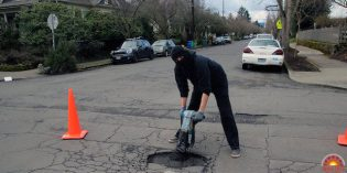 Anarchists Fixing Potholes in Roads in Portland, Oregon