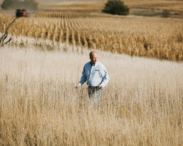 Aaron Bloom, a farmer and business consultant at Huegerich's farm.
