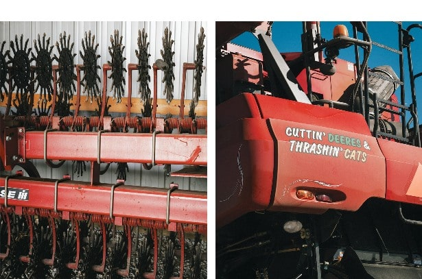 From left: Rotary hoes neatly stacked in Huegerich's shop; The corn combine shows some attitude.
