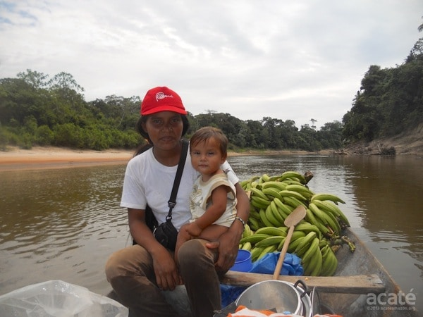 Fleck's wife Dina and his son on the Jaquirana River. Photo by David Fleck.