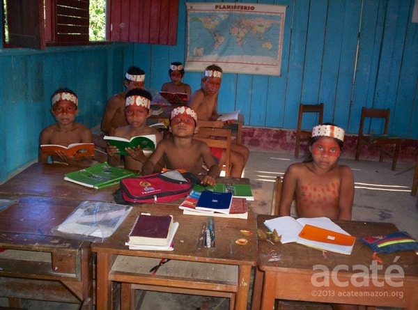 Matsés students dressed up in traditional garb. Photo by David Fleck.