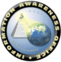 The logo of DARPA's first attempt to set up a national surveillance system. The Latin beneath the pyramid reads 'knowledge is power'.