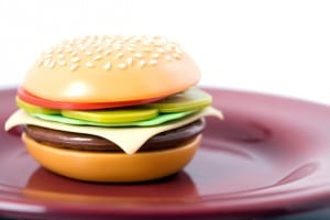 Fake food hamburger