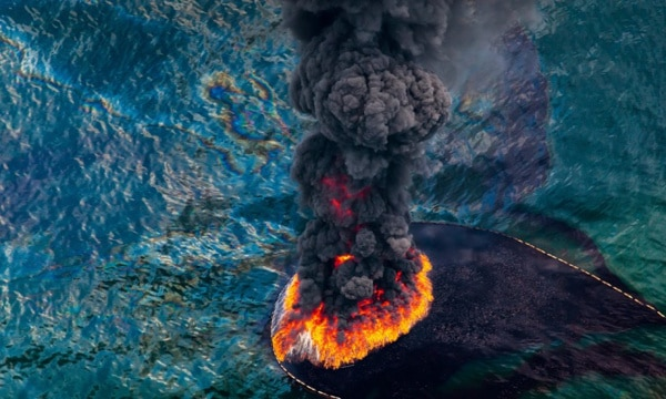 Oil fire following the 2010 Deepwater Horizon oil disaster in the Gulf of Mexico.  Photograph: Daniel Beltra/Greenpeace
