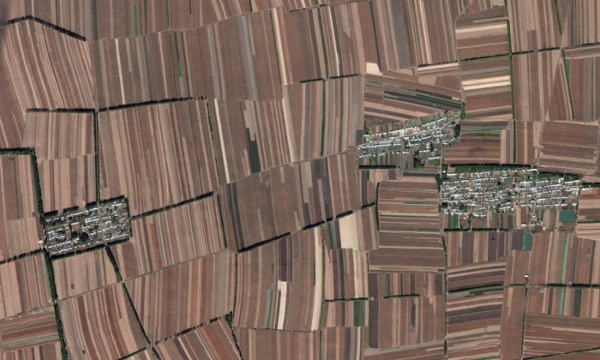 China's landscape completely devoted to crop production.  Photograph: Google Earth/2014 Digital Globe