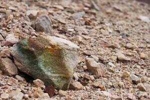 Raw uranium ore colors the soil in Navajo Nation.