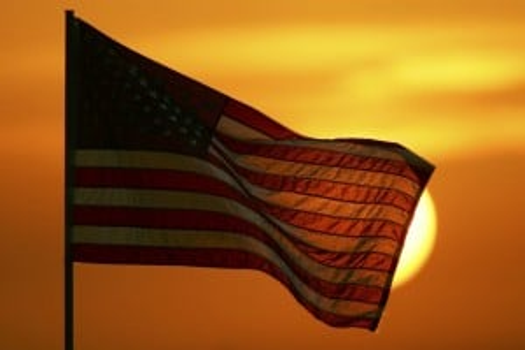 American Flag Sunset