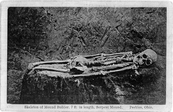 Old postcard showing 7 ft. skeleton discovered at Serpent Mound, Ohio.