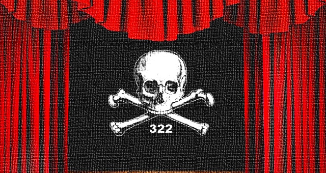 Red Curtain Skull and Bones 322 - RED