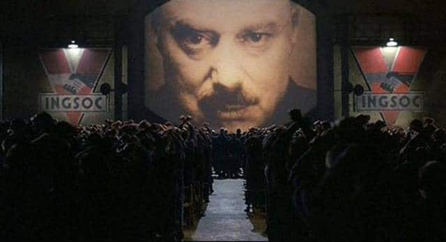 FILM: 'Nineteen Eighty-Four' (1984) starring John Hurt and Richard Burton. big-brother-orwell FILM -rally-privacy-loss free pic